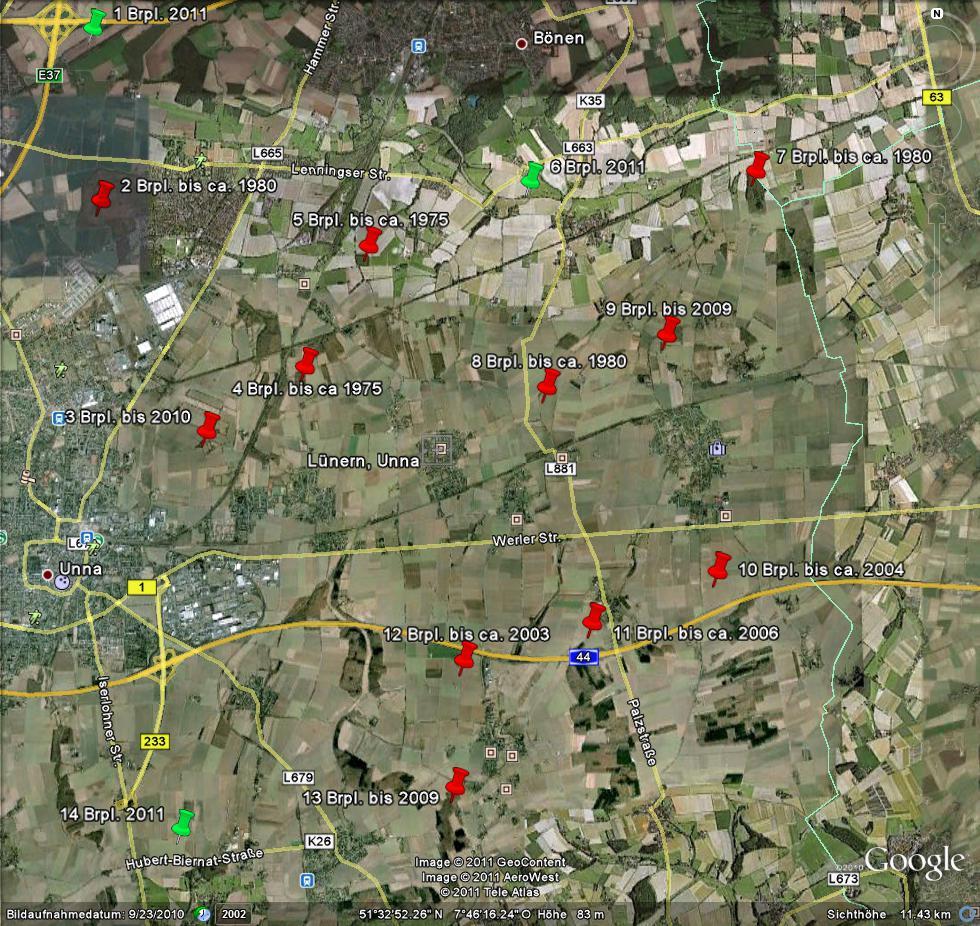 Baumfalkenbrutplätze auf dem Mtb. Unna aus rund vierzig Jahren - von 1 - 14 durchnumeriert, 15.08.2011, Foto: Bernhard Glüer