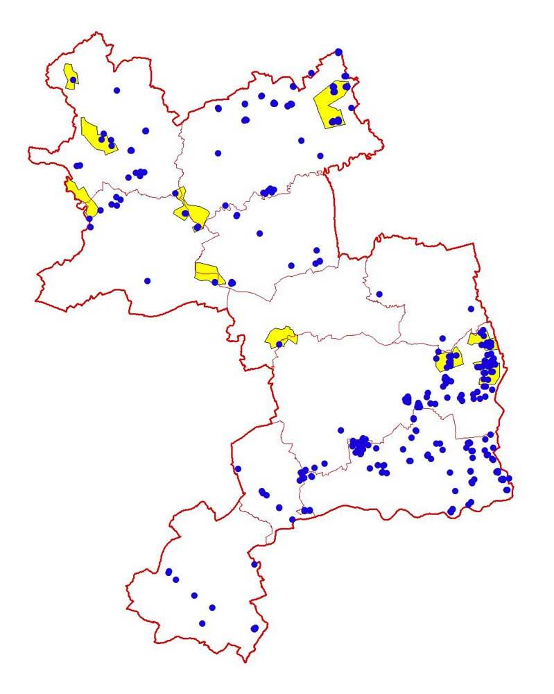 Feldlerchen-Verteilung 2010 und Kiebitz-Hotspots 2008 im Kreis Unna