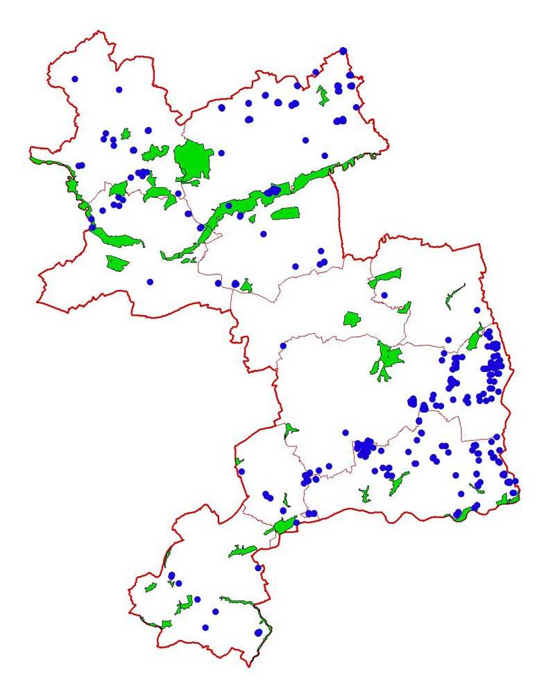 Feldlerchen-Verteilung und Naturschutzgebiete 2010 im Kreis Unna