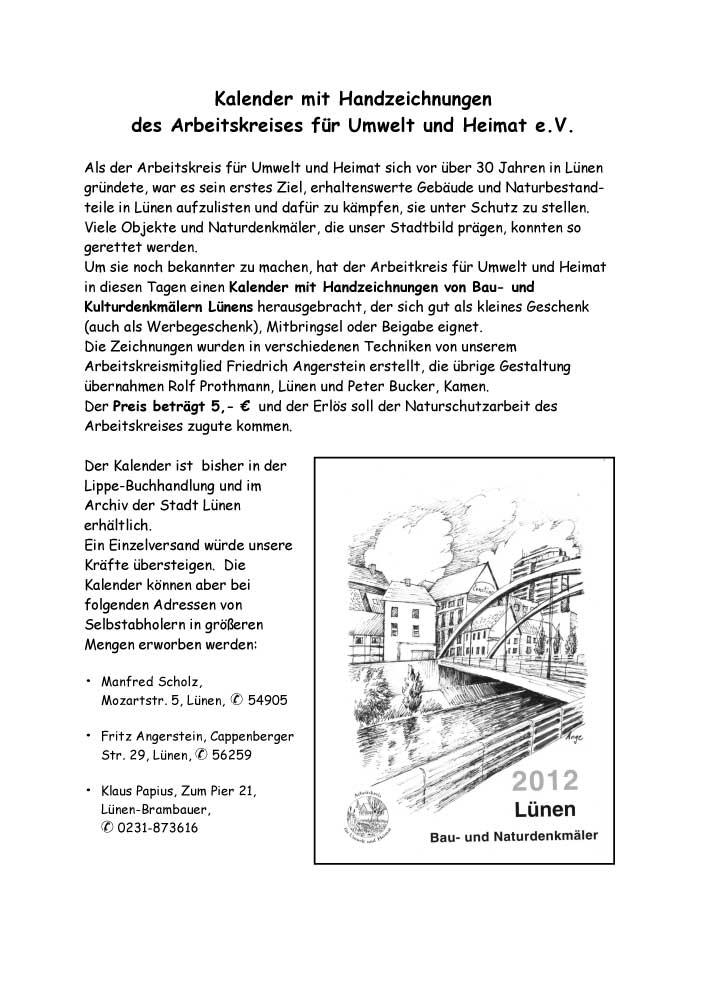 Kalender 2012 des AK Umwelt u. Heimat Lünen