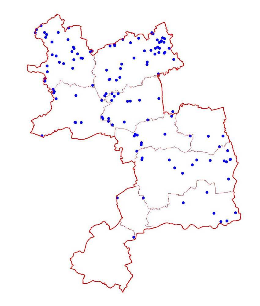 Kiebitzreviere 2008 im Kreis Unna