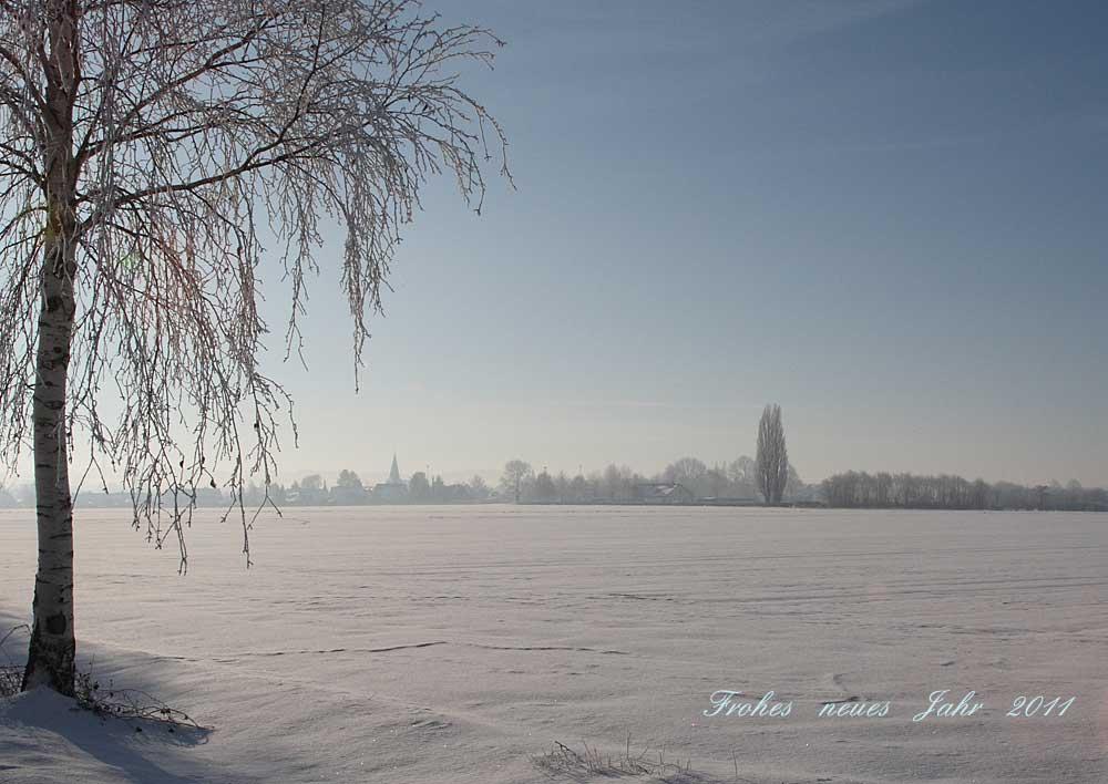 Die sibirische Kälte hat zumindest unter ästhetischen Gesichtspunkten auch ansprechende Seiten: Blick auf Unna-Lünern vom 30.12.10 Foto: Bernhard Glüer