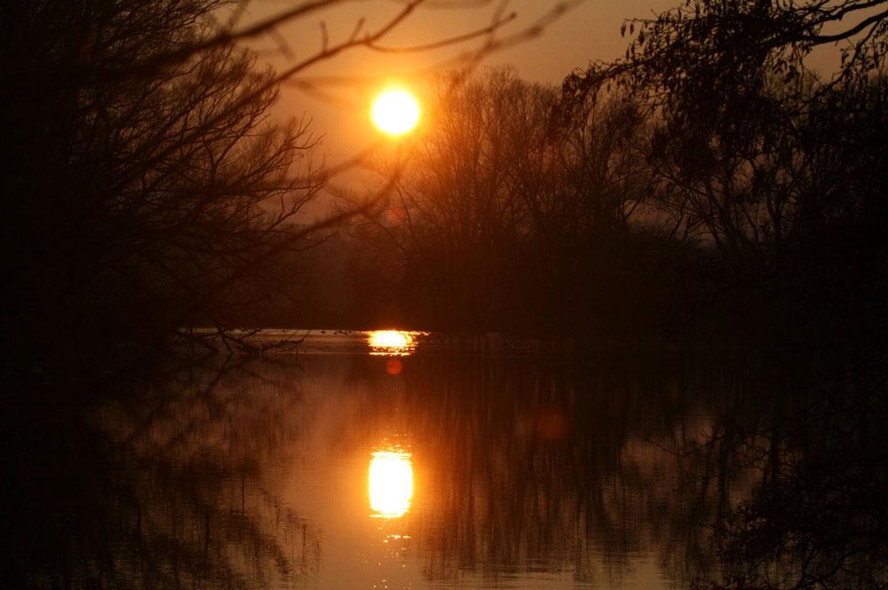 Sonnenuntergang an der Ruhr, 29.01.11 Foto: Gregor Zosel