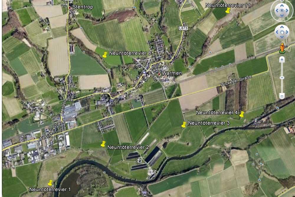 Neuntöterreviere 2012 auf dem Fröndenberger Stadtgebiet....am 24.08.12 Karte: Gregor Zosel