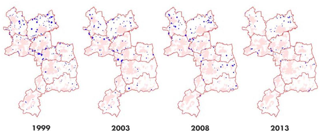Brutverdächtige Kiebitze im Kreis Unna 1999 - 2013