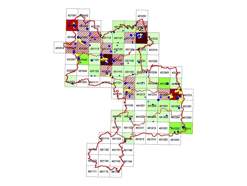 Hotspots der Kiebitzverbreitung 2008